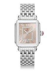 Michele Deco Madison Diamond And Stainless Steel Bracelet Watch Silver