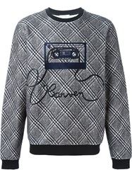 Carven Embroidered Tape Checked Sweatshirt Black