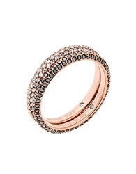 Michael Kors Pave Cubic Zirconia Rings Set Of 2 Rose Gold