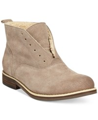 Kelsi Dagger Chelsea Faux Shearling Lined Oxford Booties Women's Shoes Taupe