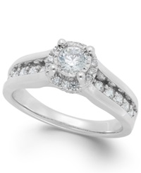 Trumiracle Diamond Channel Halo Engagement Ring In 14K White Gold 1 Ct. T.W.
