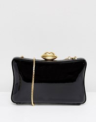 Lulu Guinness Patent Pillow Box Clutch Bag In Black And Gold
