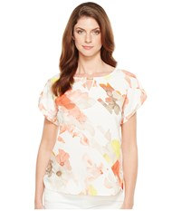 Calvin Klein Printed Top With Hardware Porcelain Rose Soft White Multi Women's Blouse