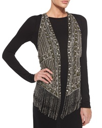 Haute Hippie Embroidered And Beaded Fringe Trim Vest