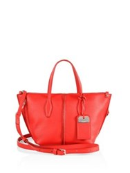Tod's Joy Mini Leather Zip Tote Red Currant