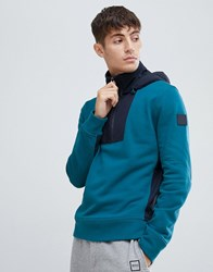 Boss Zighter Relaxed Fit 1 4 Zip Overhead Hoodie With Technical Panelling In Teal Blue