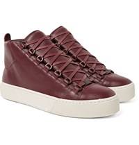 Balenciaga Arena Full Grain Leather High Top Sneakers Burgundy