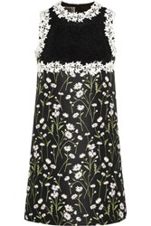 Giambattista Valli Guipure Lace And Floral Jacquard Mini Dress Black