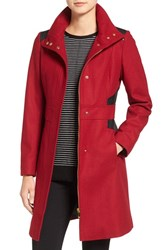 Via Spiga Women's Wool Blend Coat With Faux Leather Trim