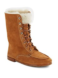 Vince Camuto Lester Faux Fur And Suede Boots Brown