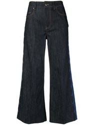 Red Valentino Printed Side Cropped Wide Leg Jeans Blue