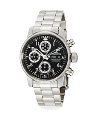 Fortis Flieger Stainless Steel Black Chronograph Watch Silver Black