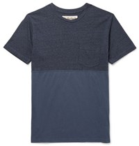 Mollusk Slim Fit Panelled Cotton Blend And Jersey T Shirt Blue