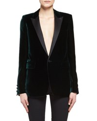 Saint Laurent Velvet Peak Lapel Blazer Emerald
