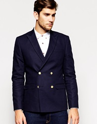 Asos Slim Fit Double Breasted Blazer With Gold Buttons Navy