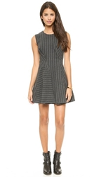 J.O.A. Structured Sleeveless Dress In Pinstripes Grey