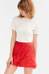 Cooperative Leather Button Down A Line Mini Skirt Red