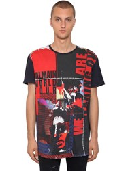 Balmain Oversize Printed Cotton Jersey T Shirt Black