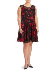 Tahari By Arthur S. Levine Plus Floral Pleated Fit And Flare Dress Black Claret