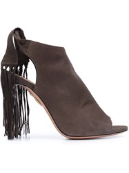 Aquazzura 'Fringe Tie' Sandals Brown