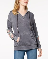 Styleandco. Style Co Embroidered Hoodie Created For Macy's Washed Black