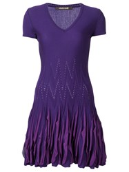 Roberto Cavalli Ruffled Knitted Mini Dress Pink And Purple
