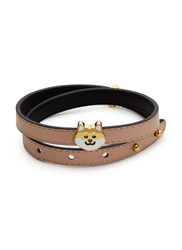 Ruifier 'Teddy' 18K Yellow Gold Plated Dog Charm Leather Bracelet Neutral