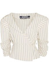 Jacquemus Striped Cotton And Linen Blend Wrap Jacket Ecru