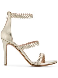 Albano Textured Strap Sandals Gold