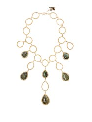 Rosantica By Michela Panero Scarabeo Teardrop Stone Necklace Green
