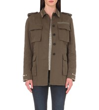 Valentino Rockstud Untitled Cotton Gabardine Field Jacket Khaki