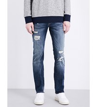 True Religion Rocco Slim Fit Tapered Jeans Dest Blue Paint