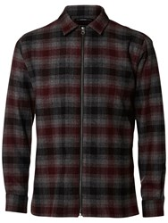 Selected Homme Zipper Long Sleeve Check Shirt Grey Wine