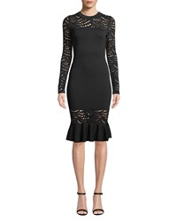 Milly Long Sleeve Pointelle Lace Mermaid Midi Dress Black