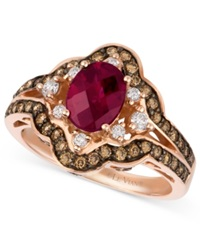 Macy's Le Vian 14K Rose Gold Ring Raspberry Rhodolite Garnet 1 3 8 Ct. T.W. Diamond And Chocolate Diamond 3 4 Ct. T.W. Oval Ring