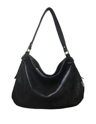 Sondra Roberts Textured Leather Hobo Bag Black