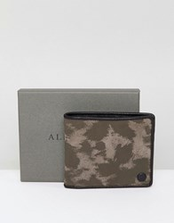 Allsaints Attain Cardholder In Leather With Camo Print Brown