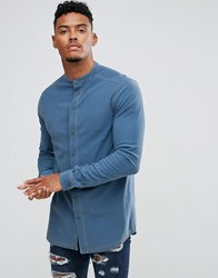 Illusive London Muscle Shirt In Blue Denim Blue