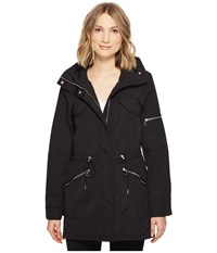 Vince Camuto Lightweight Parka With Drawstring Waist And Hem Black Women's Coat