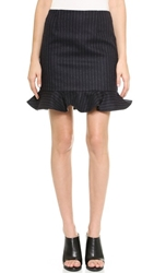 Tibi Flouncy Chalk Stripe Skirt Navy Multi