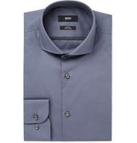 Hugo Boss Grey Jerrin Slim Fit Cutaway Collar Cotton Poplin Shirt Blue
