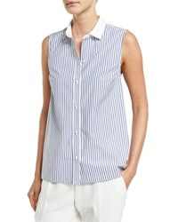 Brunello Cucinelli Sleeveless Striped Poplin Blouse White Blue White Blue