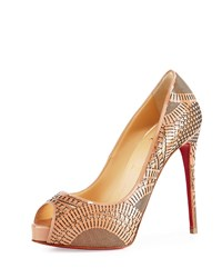 Suellena Laser Cut Peep Toe Red Sole Pump Nude Christian Louboutin Brown