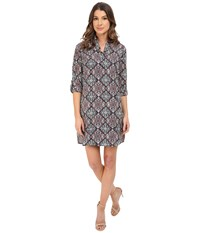 Kut From The Kloth Long Sleeve Shirt Dress Navy Aqua Women's Dress Multi