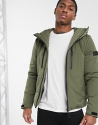Solid Quilted Jacket With Funnel Neck In Green Black