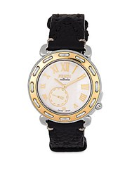 Fendi Selleria Mother Of Pearl Two Tone Stainless Steel And Leather Strap Watch Black Gold