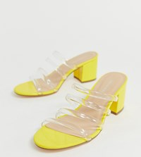London Rebel Wide Fit Clear Strap Mules Yellow