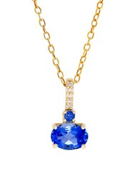 Lord And Taylor Sapphire Diamond 14K Yellow Gold Pendant Necklace