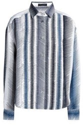 Piazza Sempione Pleated Printed Silk Shirt Off White Off White