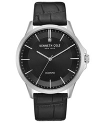 Kenneth Cole New York Men's Diamond Accent Black Leather Strap Watch 44Mm Blk